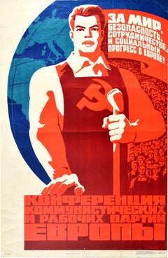 Original Vintage Poster Peace Conference Europe USSR Communist And Labour Party