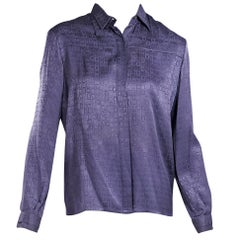 G. Gucci Navy Blue Silk Blouse