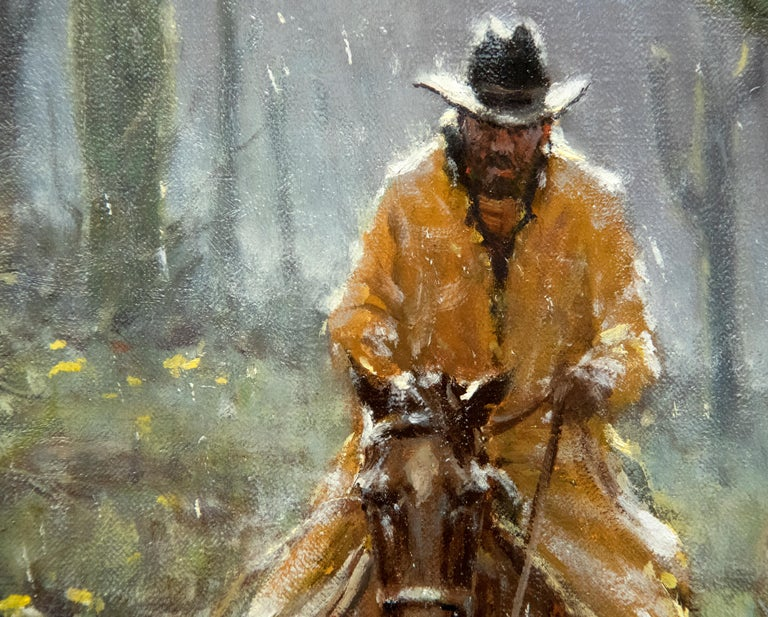 A Cowboy's Blessing - Gray Animal Painting by G. Harvey
