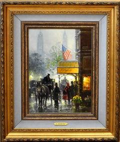 """Cafe Carriage""  G. Harvey Street Scene Texas Artist."