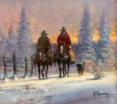 """""""Cold Day with the Dog"""" Snow Scene Cowboys on Horseback Riding  w/dog  4"""" x 4.5"""""""