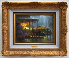 """Showers At The Market"" Cityscape Flower Seller"
