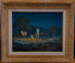"""THE LONE CAMPER""  TEXAS WESTERN G. HARVEY HORSES, CAMP FIRE, BED ROLL, RIFLE"