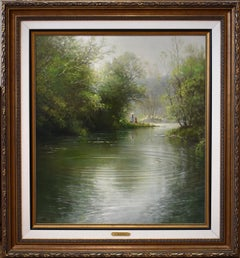"""The Picnic"" Large Serene G. Harvey painting.  54 x 50 Framed"
