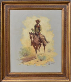 """Wild Bill is Sweet Willie Now""  Cowboy on Horseback Western Subject"