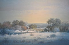 """WINTERS GIFT TO CHILDREN""  TEXAS RANCH SNOW SCENE"