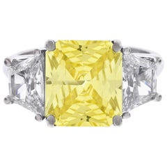 GIA Certified Natural 5 Carat Yellow Sapphire and Diamond Ring