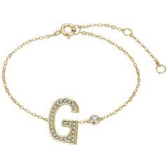 G Initial Bezel Chain Bracelet