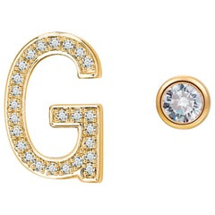 G Initial Bezel Mismatched Earrings