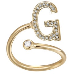 G Initial Bezel Wire Ring