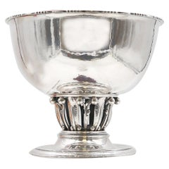 G. Jensen by Rohde Sterling Silver Hammered Centerpiece Bowl Louvre Pattern 19A