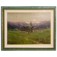 G. Mariani 19th Century Oil on Masonite Italian Signed Landscape Painting, 1880