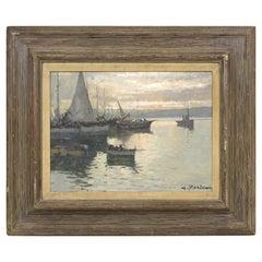 G. Mariani Italian Impressionist Harbor Scene Oil Painting