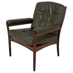 G-Mobel Easy Chair in Green Leather for Göte Möbler, Sweden, 1970s
