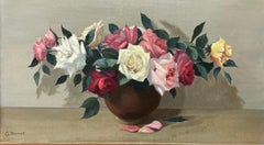 Large 20th Century French Impressionist Signed Oil - Beautiful Roses in Bowl
