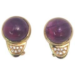 G. Petochi 18 Karat Yellow Amethyst Diamond Earrings