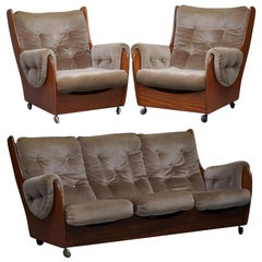 G Plan 1960s Saddle Three-Piece Suite Original Upholstery Solid Teak Frames
