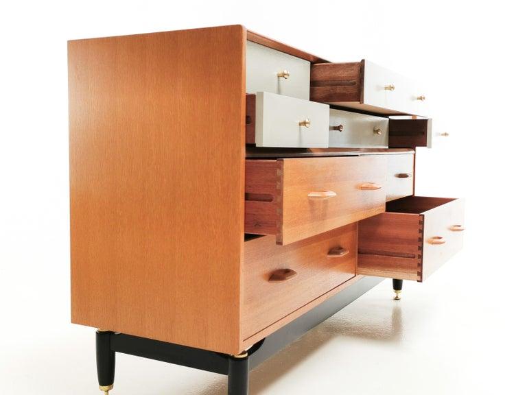 Mid-Century Modern G Plan China White Oak Sideboard Chest of Drawers Midcentury