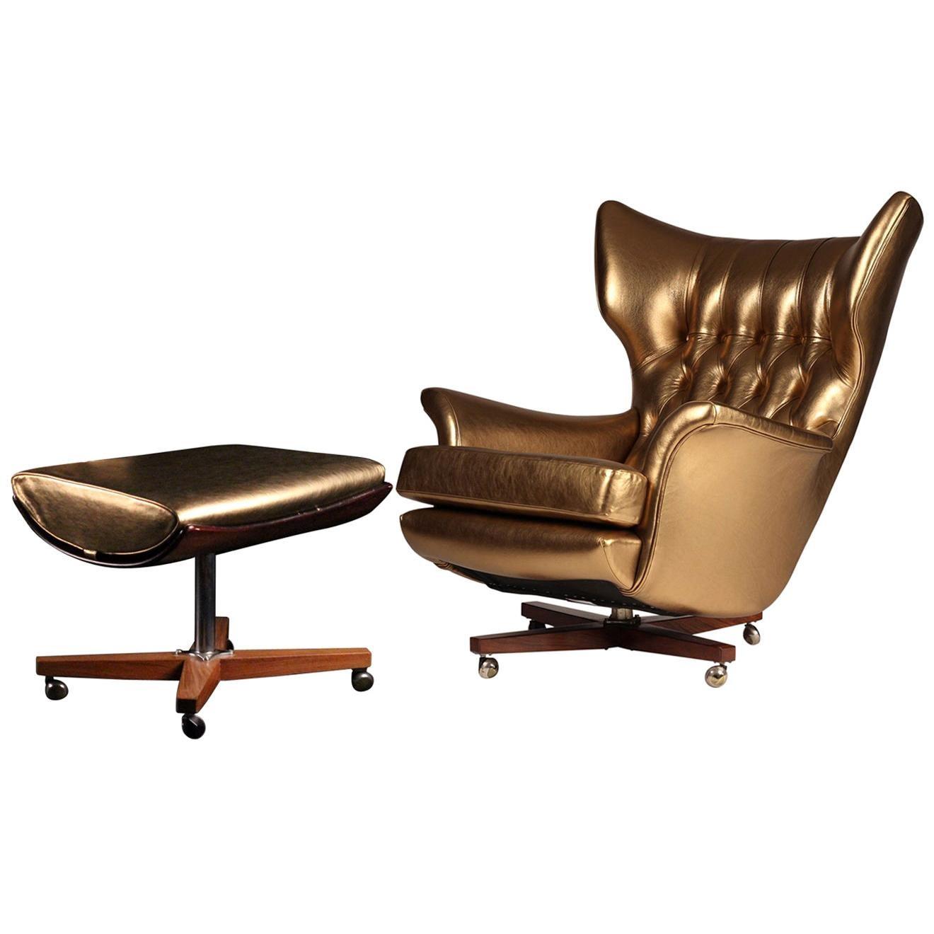 G Plan Lounge Chair and Ottoman Model 62 'Blofeld'