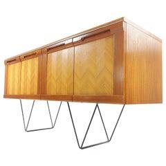 G Plan Teak Herringbone Midcentury Sideboard Floating Hairpin Legs Vintage