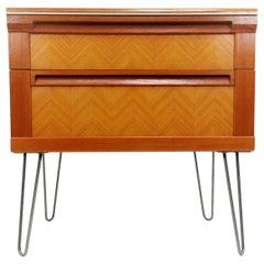 G Plan Teak Herringbone Midcentury Chest of Drawers on Hairpin Legs Vintage
