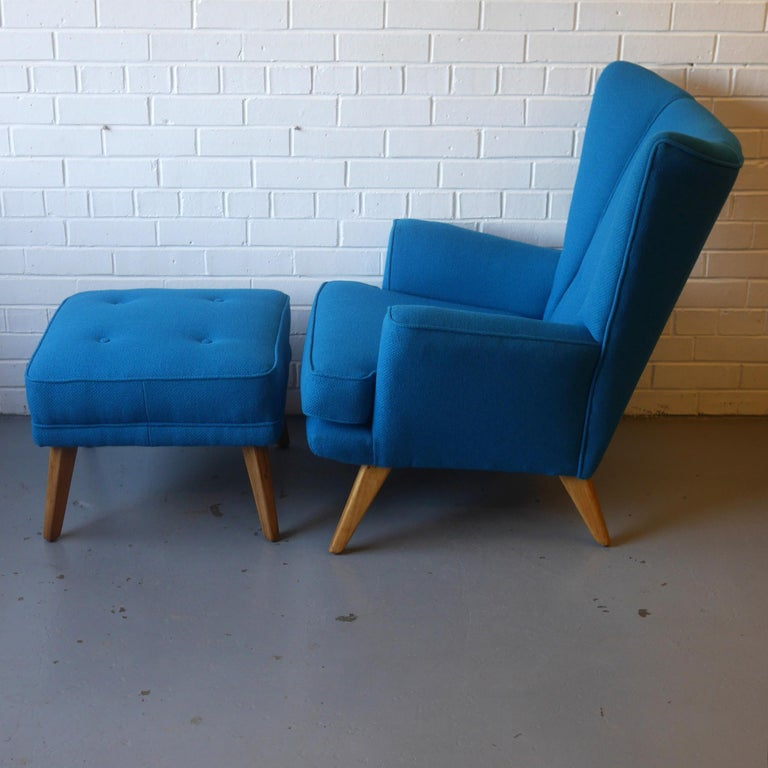 G-Plan Wingback Armchair and Footstool in Blue Wool with Beech Legs, circa 1956 In Good Condition For Sale In Derby, Derbyshire