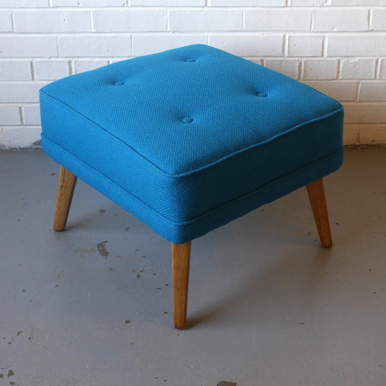 G-Plan Wingback Armchair and Footstool in Blue Wool with Beech Legs, circa 1956 For Sale 1