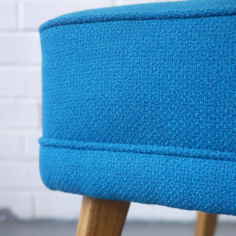G-Plan Wingback Armchair and Footstool in Blue Wool with Beech Legs, circa 1956 For Sale 2