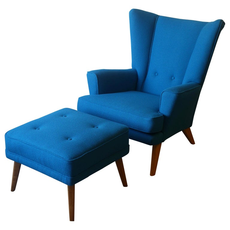 G-Plan Wingback Armchair and Footstool in Blue Wool with Beech Legs, circa 1956 For Sale