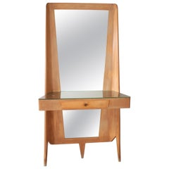 G. Ponti Light Curved Wood and Beige Velvet Console with Large Mirror, Italy