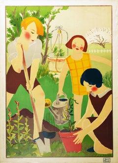 Original Vintage Poster Schoolchildren Gardening Art Concours De l'Art A l'Ecole