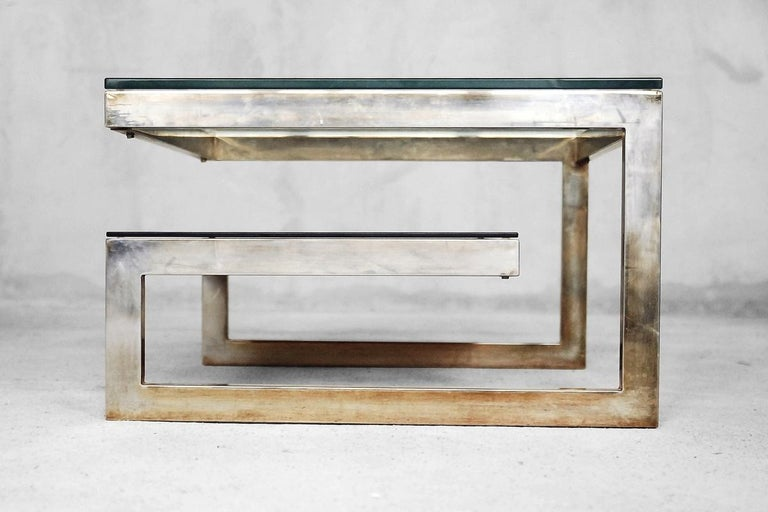 G-Shaped and Gold-Plated Coffee Tables from Belgochrom, 1970s, Set of 2 For Sale 3