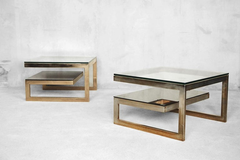 G-Shaped and Gold-Plated Coffee Tables from Belgochrom, 1970s, Set of 2 For Sale 7
