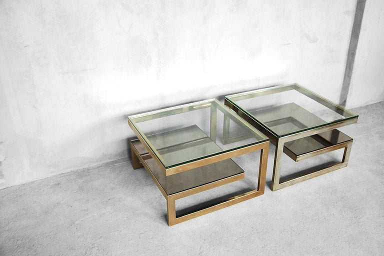 G-Shaped and Gold-Plated Coffee Tables from Belgochrom, 1970s, Set of 2 For Sale 13