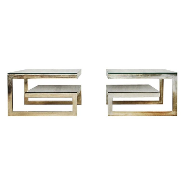 G-Shaped and Gold-Plated Coffee Tables from Belgochrom, 1970s, Set of 2 For Sale