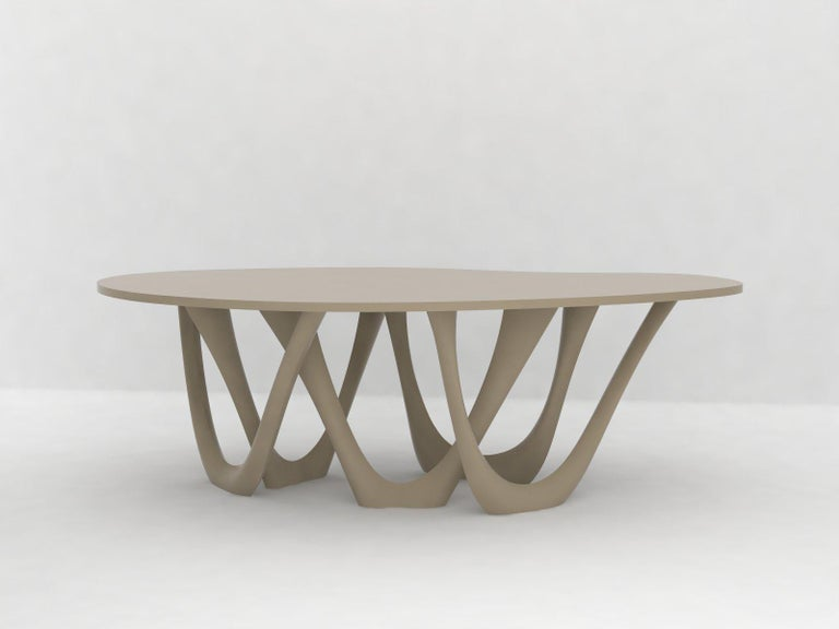 We use parametric design software to generate G-table form. Modifying a few variables lets us create a miniature model as well as a huge pavilion. Delicate structure of table legs may become stocky and dominating. All those factors cause G-table to