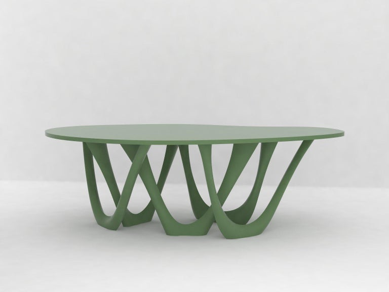 Contemporary G-Table B and C in Polished Stainless Steel with Concrete Top by Zieta For Sale