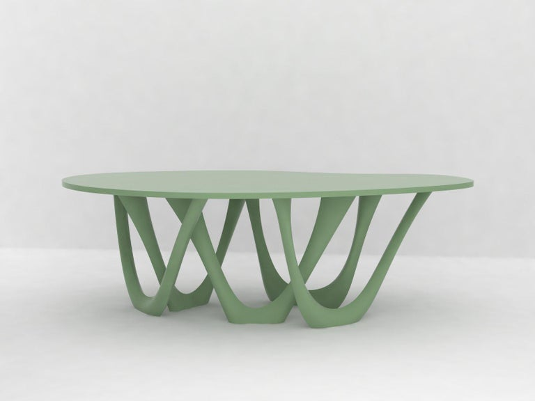 G-Table B and C in Polished Stainless Steel with Concrete Top by Zieta For Sale 1