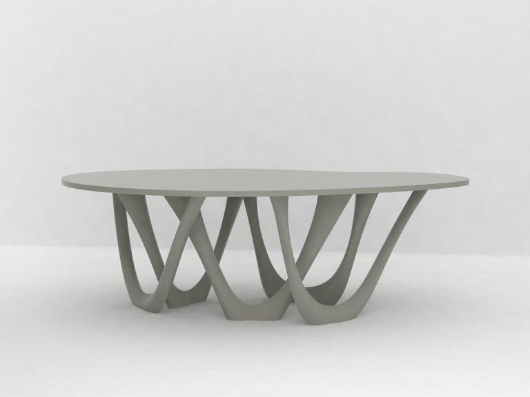 G-Table B and C in Polished Stainless Steel with Concrete Top by Zieta For Sale 3