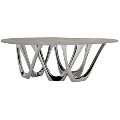 G-Table B and C in Polished Stainless Steel with Concrete Top by Zieta