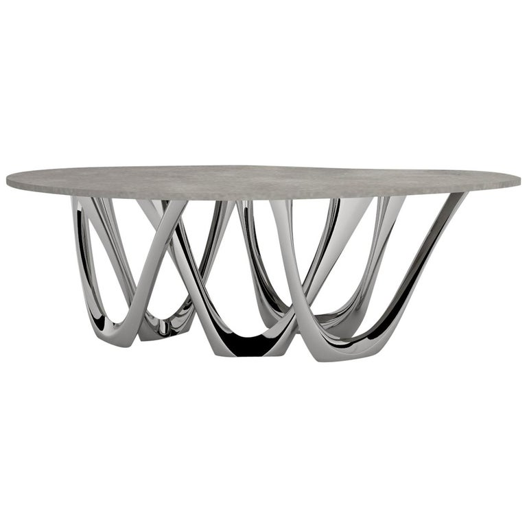 G-Table B and C in Polished Stainless Steel with Concrete Top by Zieta For Sale