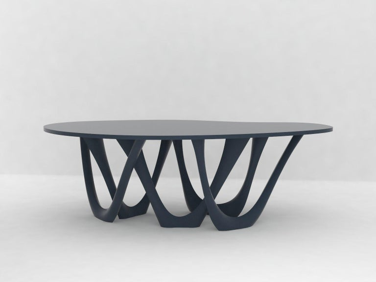 Modern G-Table B+C in Brushed Aluminum with Concrete Top by Zieta For Sale