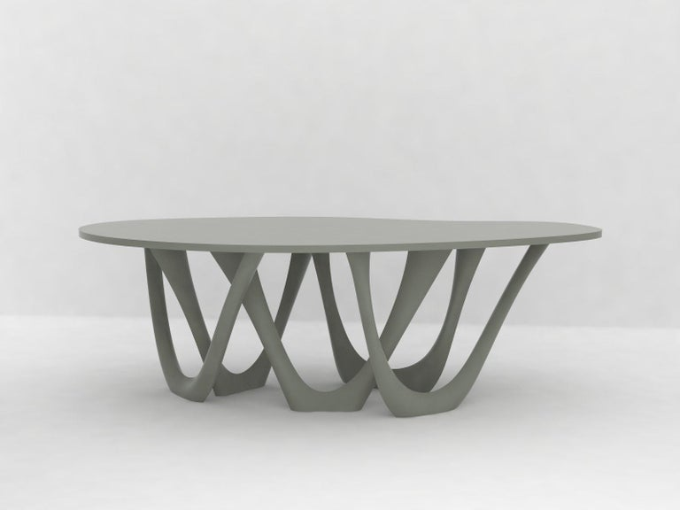 G-Table B+C in Brushed Aluminum with Concrete Top by Zieta For Sale 1