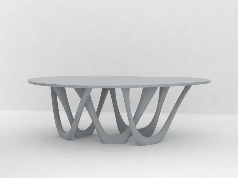 G-Table B+C in Brushed Aluminum with Concrete Top by Zieta For Sale 3