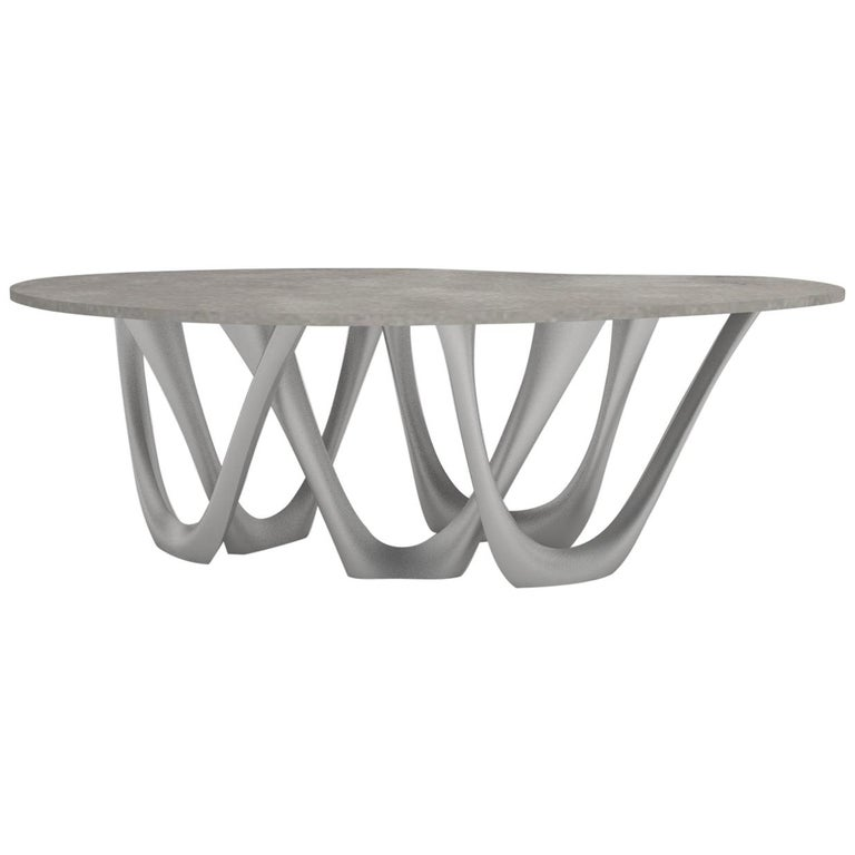 G-Table B+C in Brushed Aluminum with Concrete Top by Zieta For Sale