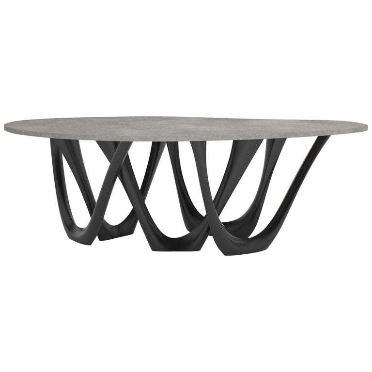 G-Table B+C in Powder-Coated Steel with Concrete Top by Zieta For Sale