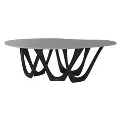 G-Table by Zieta, Brushed Inox Base and Concrete Top