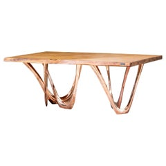 G-Table CU + K with Kauri Wood Table Top and Copper-Cladded Steel Base by Zieta