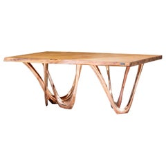 G-Table CUK by Zieta Prozessdesign, Copper Base Wood Top 'Customizable'