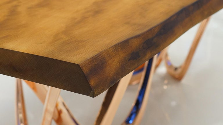 Modern G-Table CU+K in Copper-Cladded Steel with Kauri Wood Top by Zieta For Sale